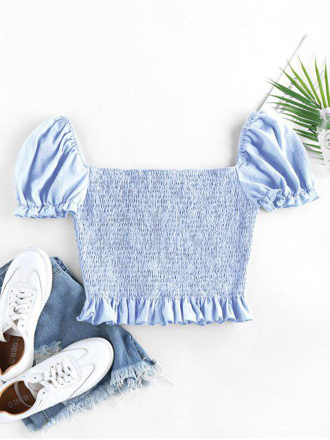women ZAFUL Smocked Bowknot Puff Sleeve Ruffle Blouse - LIGHT BLUE M Mobile
