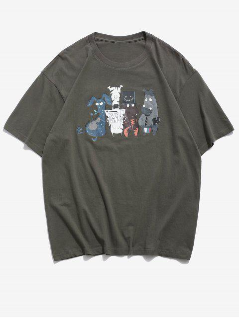 latest Funny Cartoon Animal Pattern Basic T Shirt - DARK GRAY XL Mobile