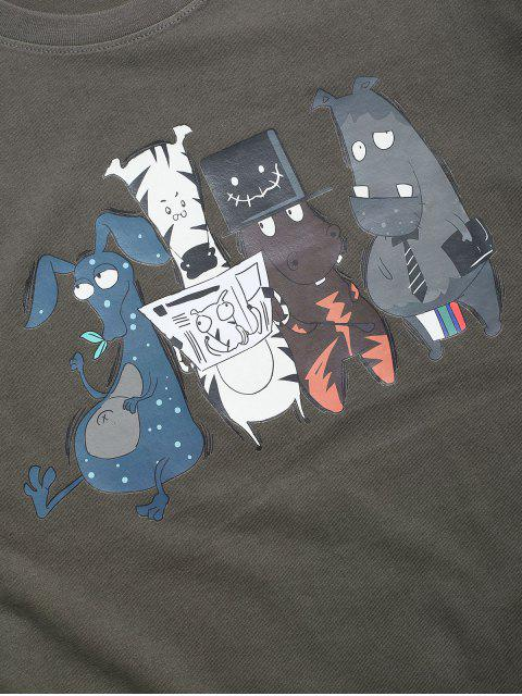 Camiseta Básica con Estampado de Animal de Dibujos Animados - Gris Oscuro 2XL Mobile