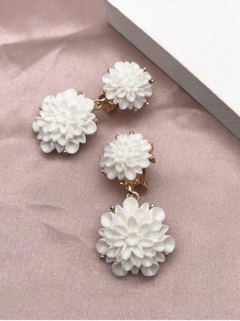 online Resin Flower Clip On Earrings - WHITE  Mobile