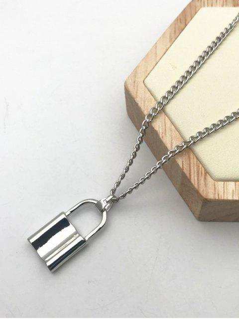 fashion Alloy Lock Pendant Necklace - SILVER  Mobile