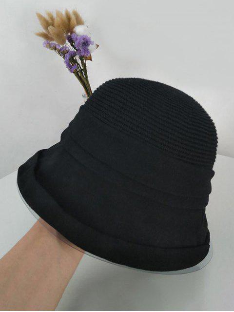 Pure Color Woven Bucket Hat - Schwarz  Mobile