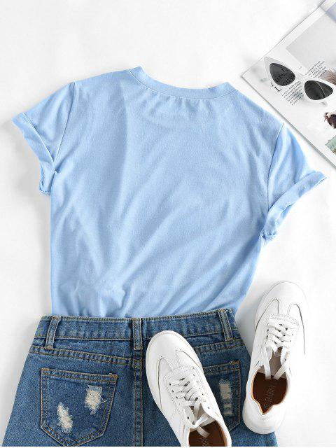ZAFUL Planet Print Short Sleeve T-shirt - أزرق فاتح M Mobile