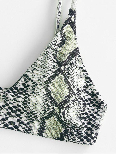 fancy ZAFUL Snakeskin Ribbed Cami Tank Bikini Swimwear - BLACK S Mobile