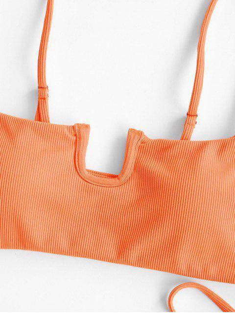online ZAFUL U-wired Tie Ribbed Tanga Bikini Swimwear - ORANGE S Mobile