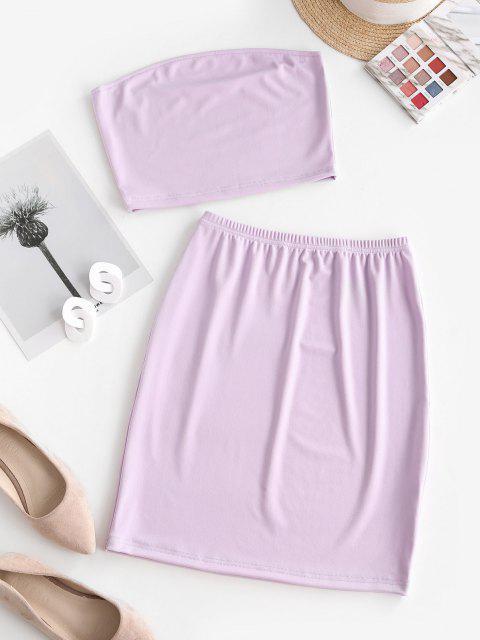 outfit Bandeau Sheath Two Piece Dress - LIGHT PURPLE L Mobile