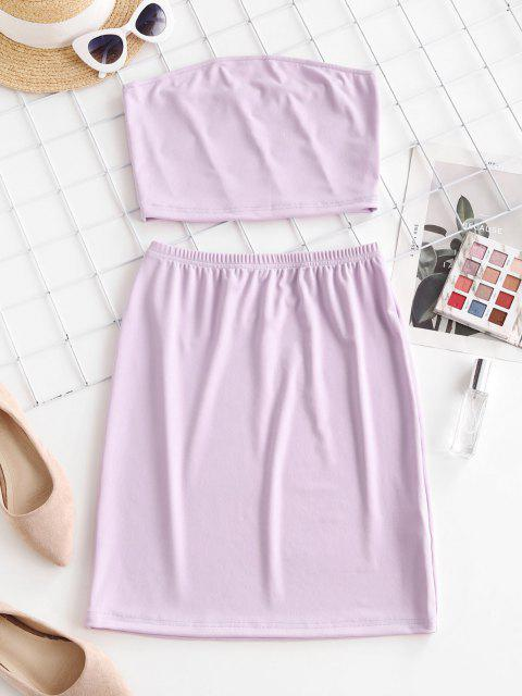 Bandeau Sheath Two Piece Dress - ضوء ارجواني M Mobile