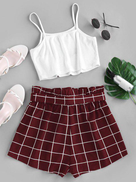 chic ZAFUL Crop Top and Grid Shorts Two Piece Set - FIREBRICK M Mobile