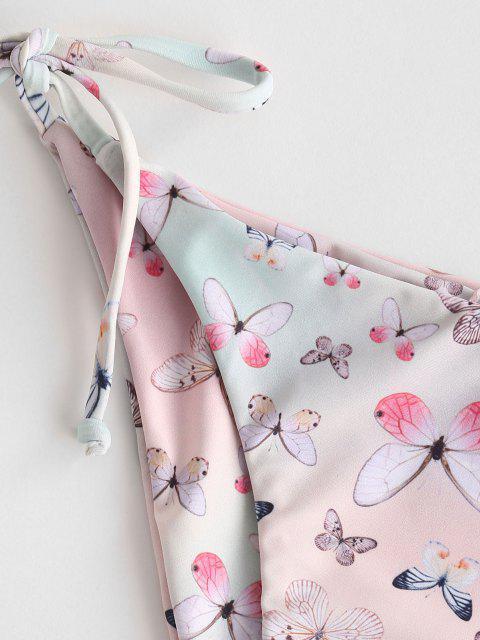 ZAFUL Borboleta Impressão de Corda Calcinhas de Biquíni - Luz rosa S Mobile