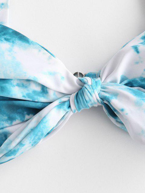 online ZAFUL Tie Dye Knotted Ruched Braided Strap Bikini Swimwear - BLUE M Mobile