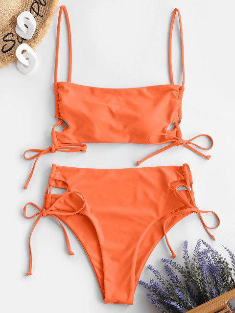 women ZAFUL Lace-up Bikini Swimwear - ORANGE M Mobile