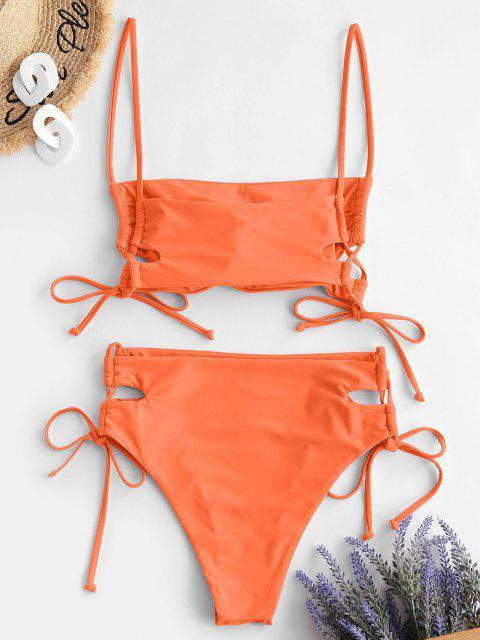 ZAFUL Maillot de Bain Bikini à Lacets - Orange L Mobile