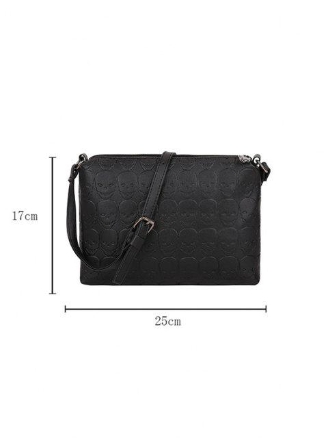affordable Skull Embossed Leather Crossbody Bag - BLACK  Mobile