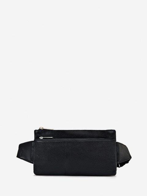 womens Plain Leather Adjustable Chest Bag - BLACK  Mobile
