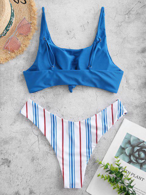Bikini Anudado a Rayas en Contraste ZAFUL - Azul Océano  S Mobile