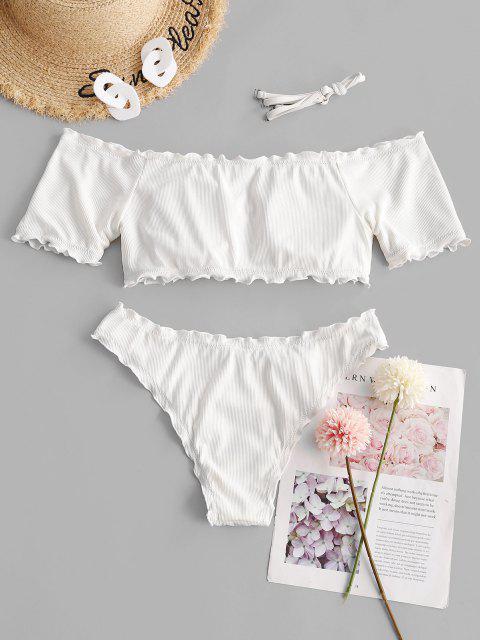 fashion ZAFUL Ribbed Lettuce Trim Off Shoulder Bikini Swimwear - WHITE L Mobile