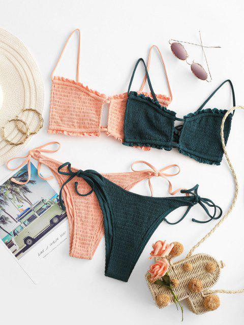 shops ZAFUL Smocked Bralette Cutout Ruffle String Bikini Swimwear - LIGHT ORANGE M Mobile