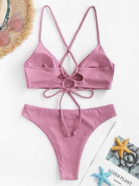 fashion ZAFUL Ribbed Braided Lace-up Bikini Swimwear - LIGHT PINK S Mobile