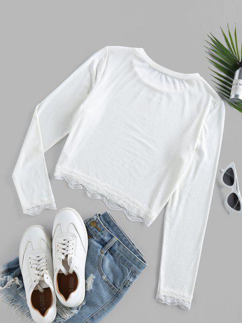 ZAFUL T-shirt Court Côtelé en Dentelle Insérée - Blanc XL Mobile