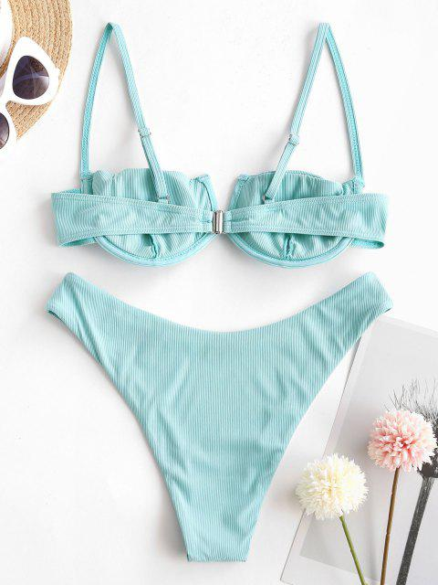 new ZAFUL Pure Fresh V-wired Balconette Bikini - LIGHT BLUE M Mobile