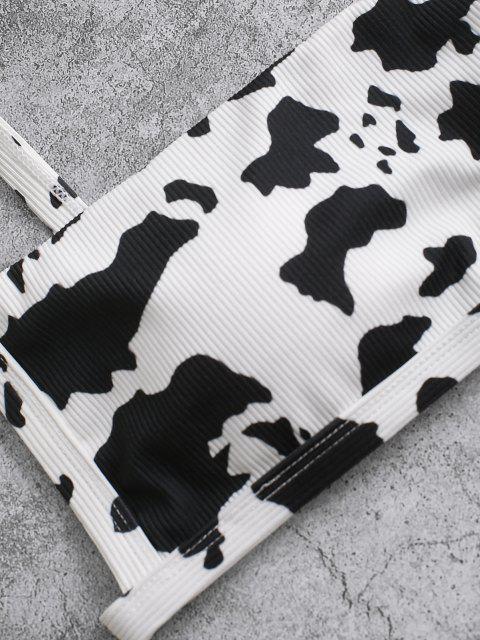 Conjunto de Bikini con Canalé con Estampado de Animal ZAFUL - Negro S Mobile