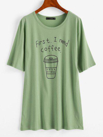 Coffee Graphic Tunic Tee - Light Green S