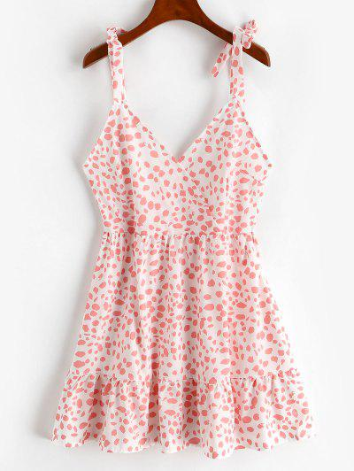 Tie Shoulder Surplice Leopard Flounce Dress - Light Pink S