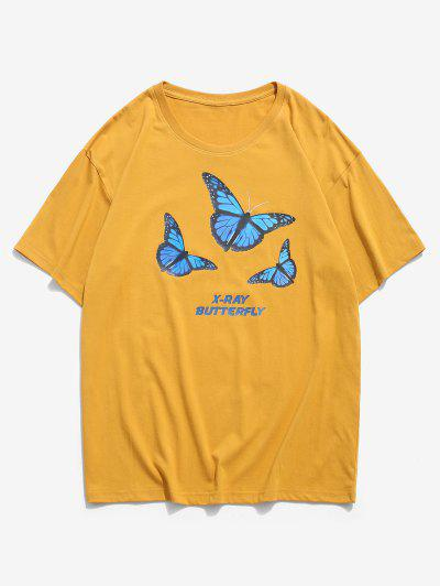 X-ray Butterfly Graphic Basic T Shirt - Orange Gold 3xl