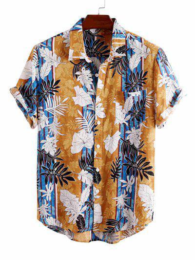 Camisa De Vacaciones De Rayas De Hojas Tropicales - Amarillo L