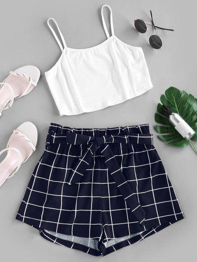 ZAFUL Crop Top And Grid Shorts Two Piece Set - Dark Slate Blue S