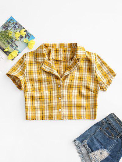 Plaid Button Up Lapel Blouse - Yellow L