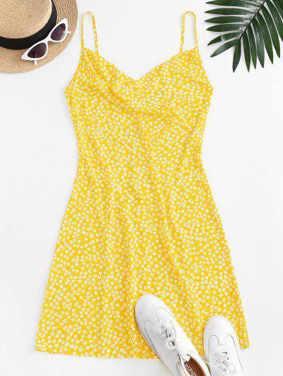 ZAFUL Vestido Floral De Cami Corte Frontal - Amarillo M