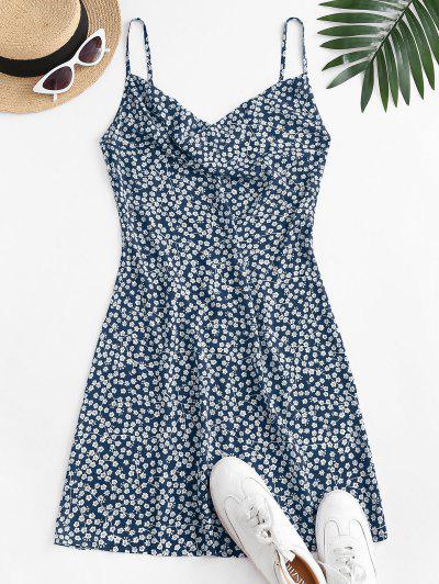ZAFUL Cowl Front Ditsy Floral Cami Dress - Deep Blue M