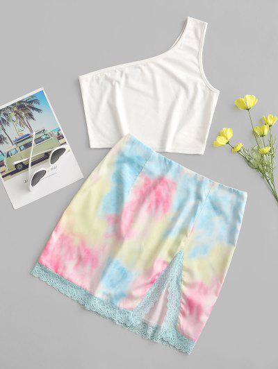 ZAFUL One Shoulder Lace Panel Tie Dye Two Piece Dress - White M