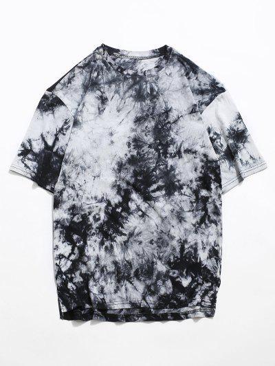 Tie Dye Side Slit Casual High Low T Shirt - Black M