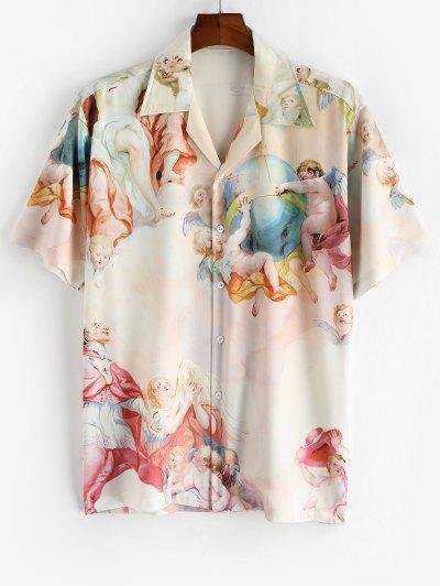Allover Print Camp Collar Renaissance Art Shirt - Light Yellow L