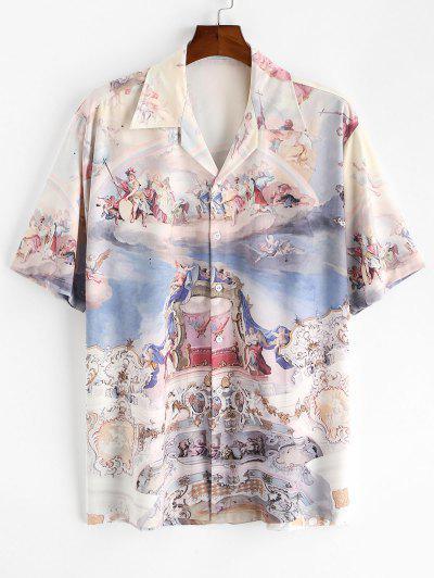Allover Renaissance Art Print Button Up Shirt - Light Blue 2xl