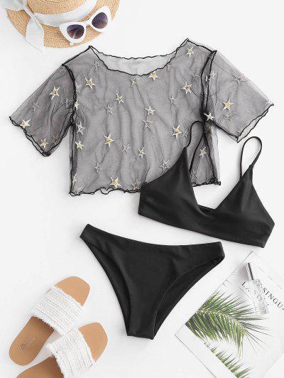 ZAFUL Sequined Star Mesh Low Waisted Three Pieces Bikini Swimwear - Black S