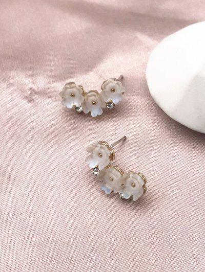Aretes De Diamantes De Imitación De Flores - Blanco
