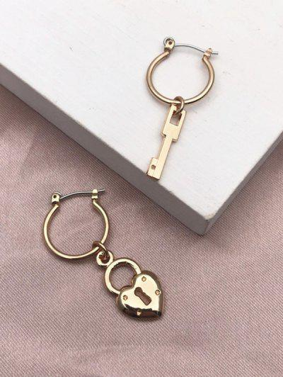 Lock Key Pendant Hoop Earrings - Golden