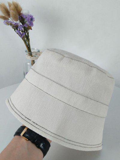 Chapeau Seau Protection Solaire En Couleur Unie - Blanc De Crème