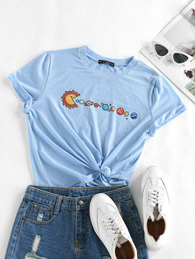 ZAFUL Planet Print Short Sleeve T-shirt - Light Blue S