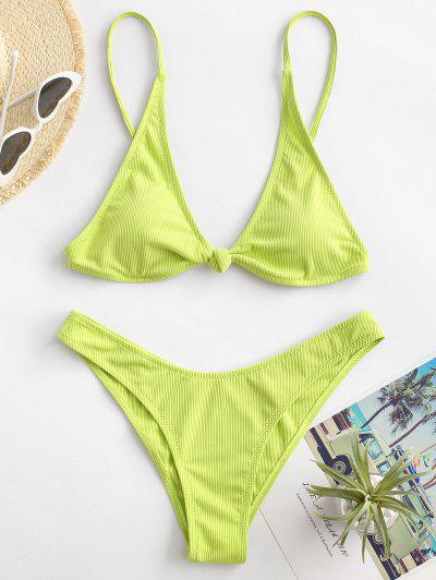 ZAFUL Cheeky Ribbed Knot Bikini Swimsuit - Green S