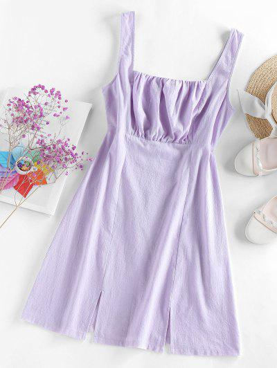 ZAFUL Front Slit Mini Flare Dress - Light Purple S