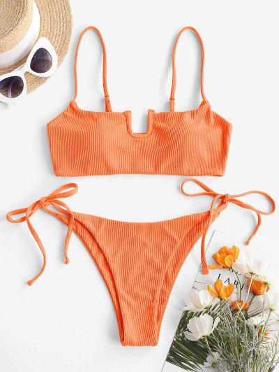 ZAFUL U-wired Tie Ribbed Tanga Bikini Swimwear - Orange L