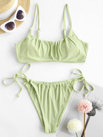 ZAFUL Fresh Tasting Ribbed String Bikini Swimwear - Light Green L
