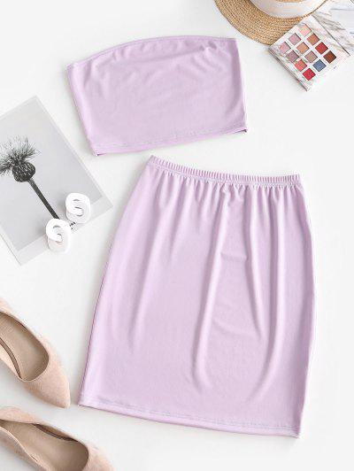 Bandeau Sheath Two Piece Dress - Light Purple L