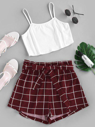 ZAFUL Crop Top And Grid Shorts Two Piece Set - Firebrick M