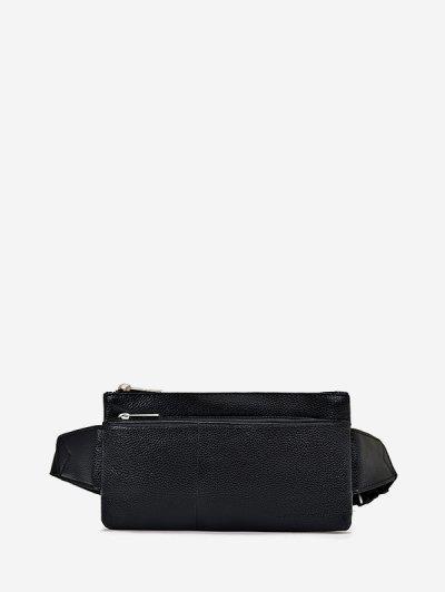 Plain Leather Adjustable Chest Bag - Black