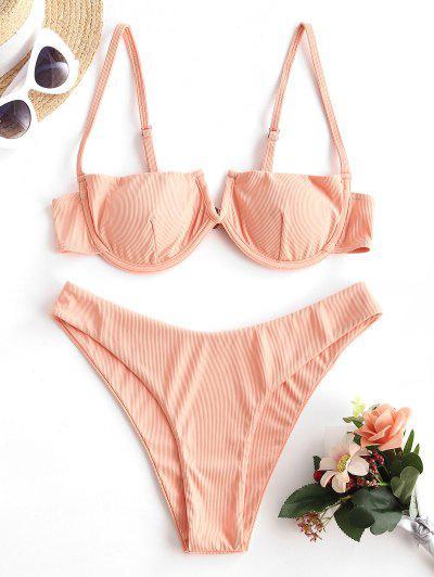ZAFUL Sun-chasing Ribbed V Notch Balconette Bikini - Light Orange S